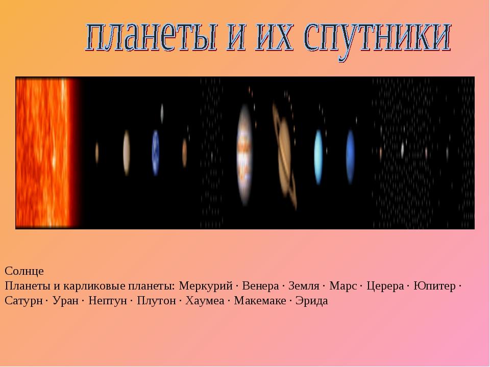 Солнце Планеты и карликовые планеты: Меркурий · Венера · Земля · Марс · Церер...