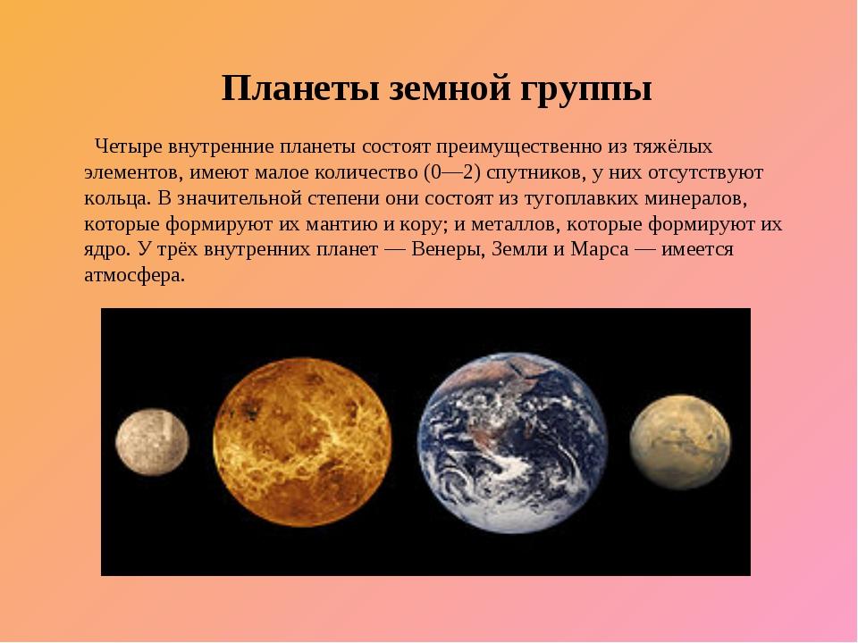 Планеты земной группы Четыре внутренние планеты состоят преимущественно из т...