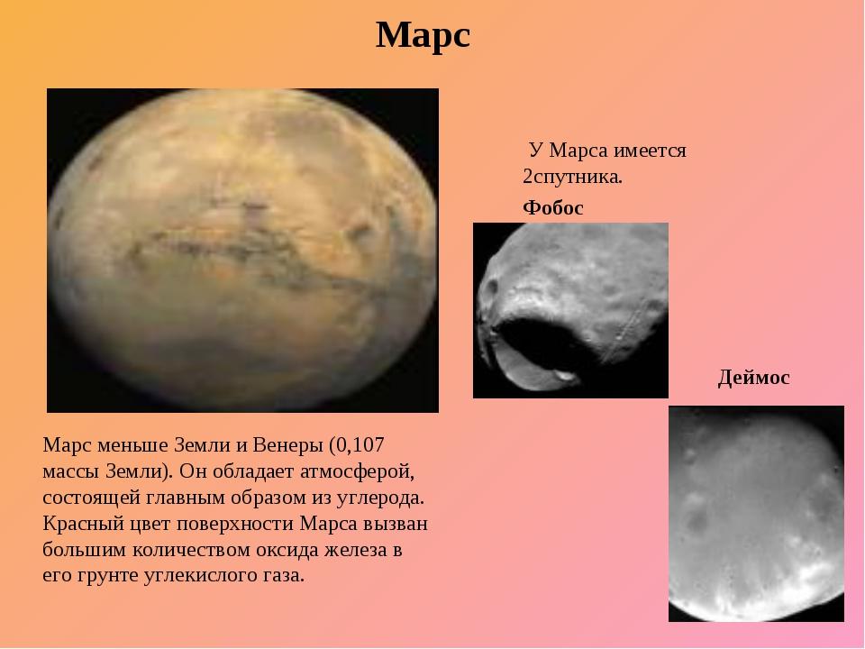 Марс У Марса имеется 2спутника. Фобос Марс меньше Земли и Венеры (0,107 массы...