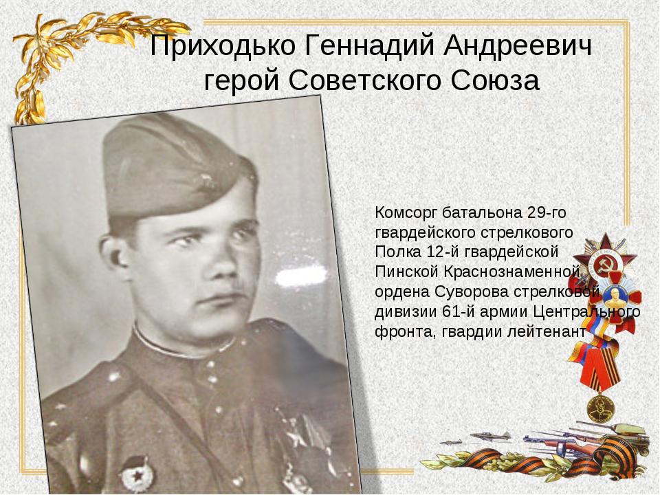 Приходько Геннадий Андреевич герой Советского Союза Комсорг батальона 29-го г...