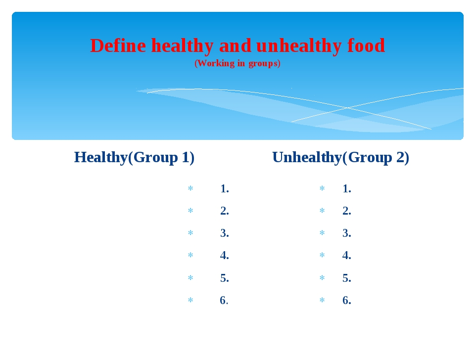 Define healthy and unhealthy food (Working in groups) Healthy(Group 1) 1. 2....