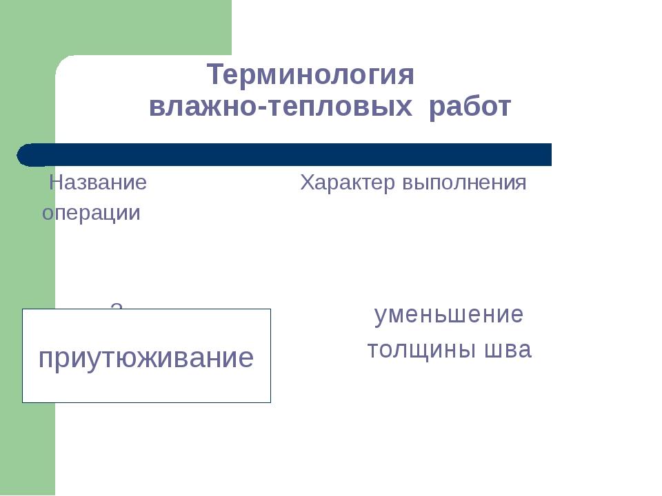Терминология влажно-тепловых работ приутюживание Название операции Характер...