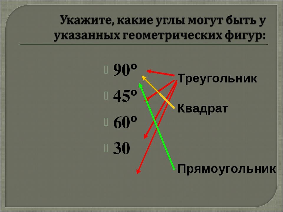 90º 45º 60º 30 Треугольник Квадрат Прямоугольник