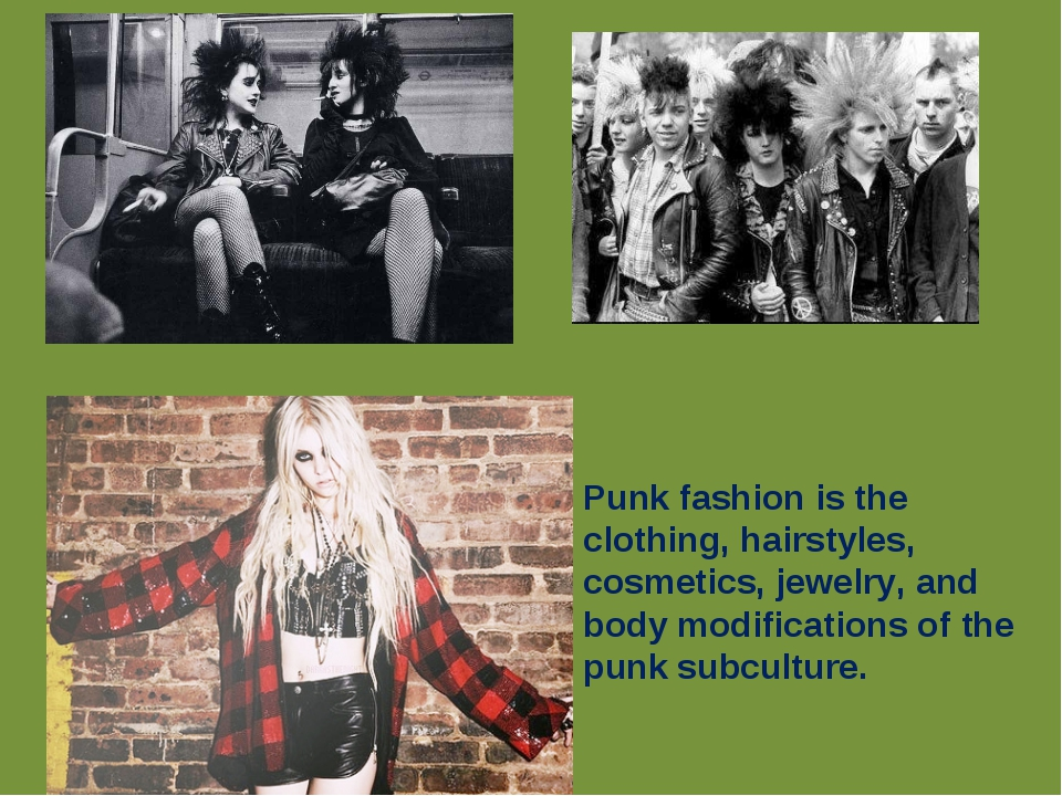 Punk fashion is the clothing, hairstyles, cosmetics, jewelry, and body modif...