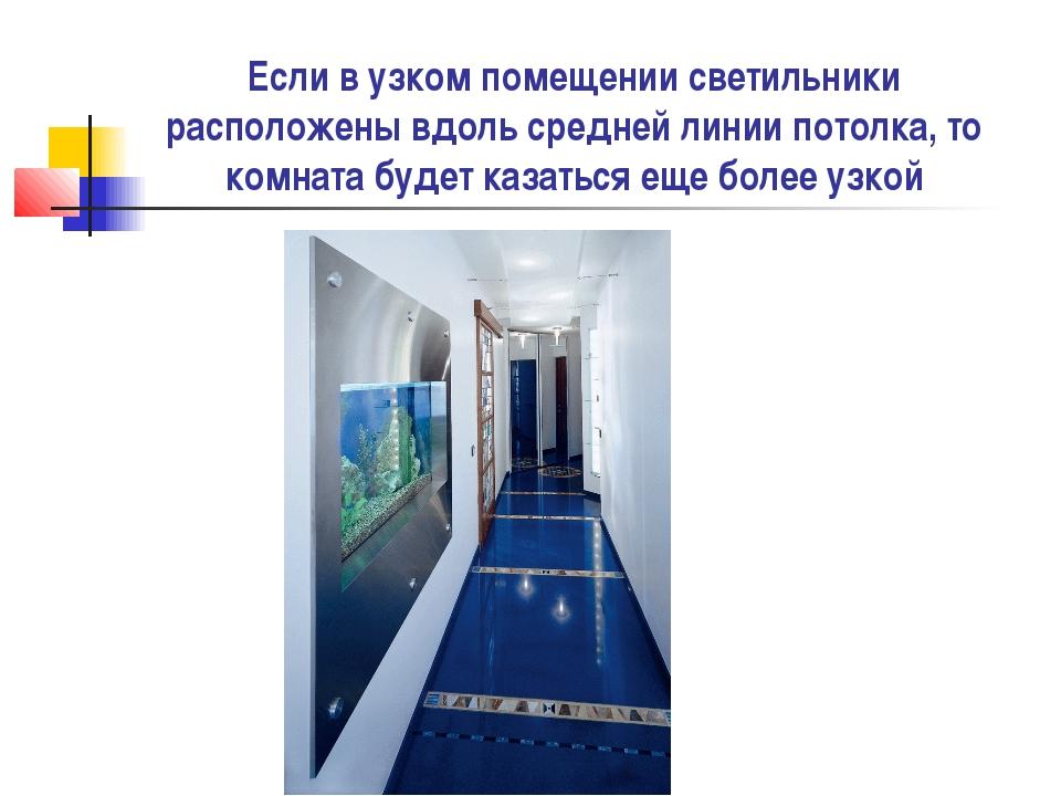 Если в узком помещении светильники расположены вдоль средней линии потолка, т...