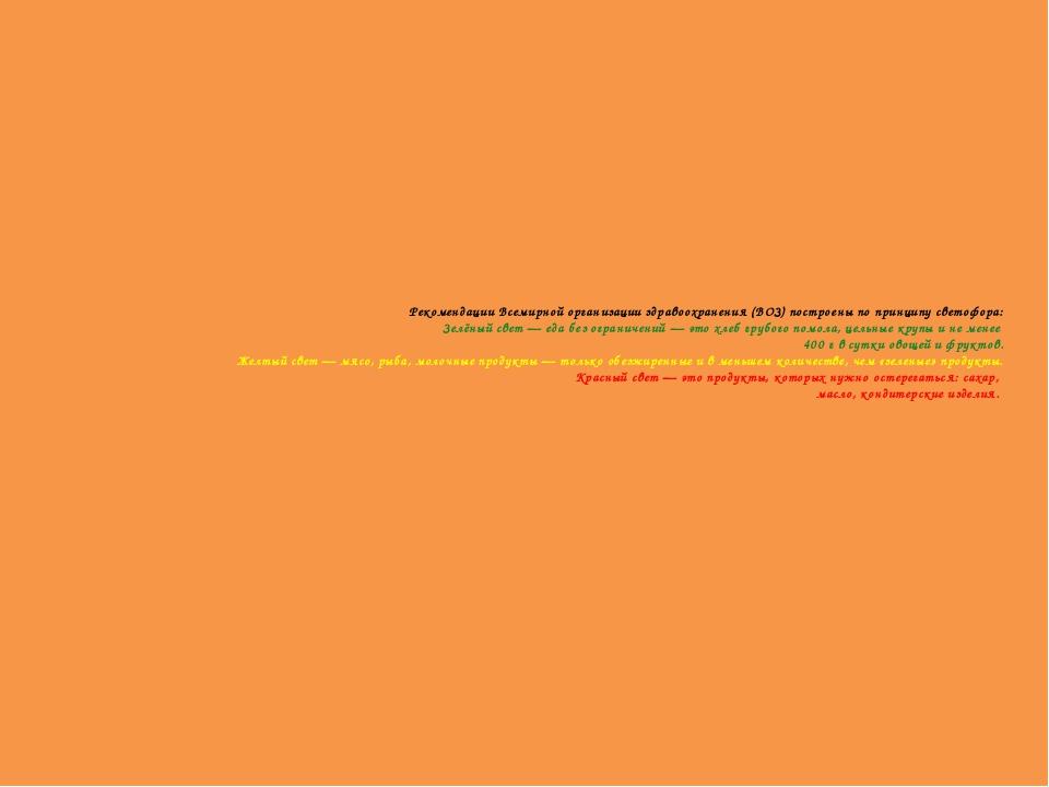 Рекомендации Всемирной организации здравоохранения (ВОЗ) построены по принцип...