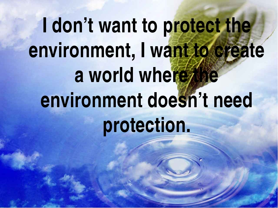 I don't want to protect the environment, I want to create a world where the e...