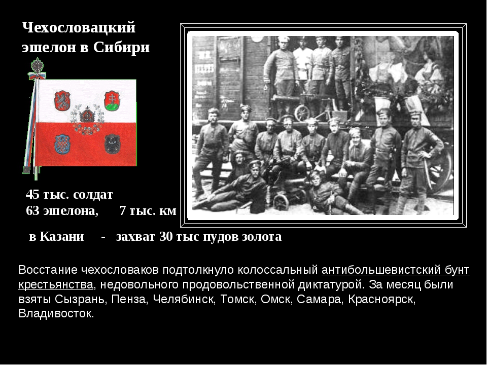 Чехословацкий эшелон в Сибири в Казани - захват 30 тыс пудов золота 45 тыс. с...