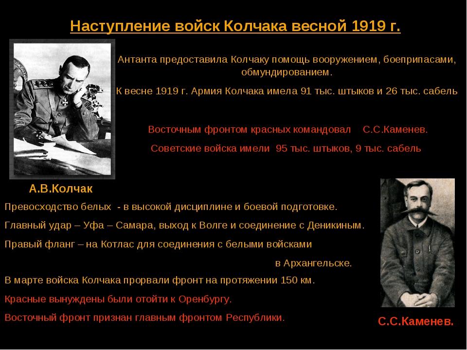 Наступление войск Колчака весной 1919 г. А.В.Колчак Антанта предоставила Колч...