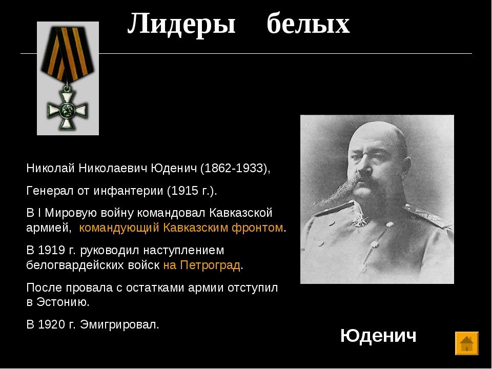 Лидеры белых Юденич Николай Николаевич Юденич (1862-1933), Генерал от инфанте...