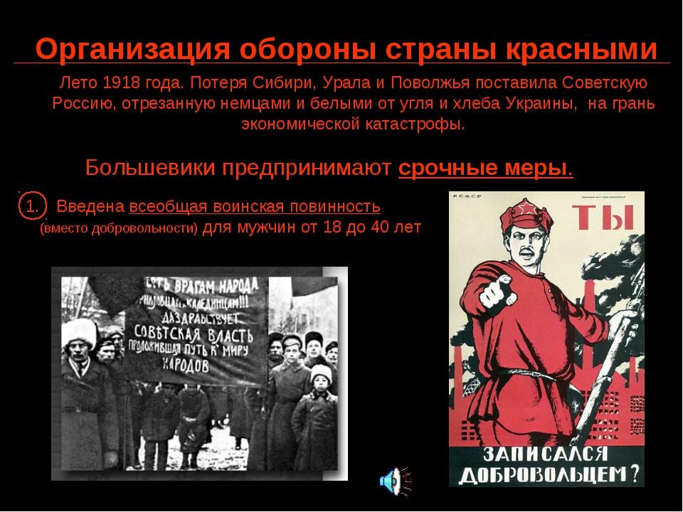 Организация обороны страны красными Лето 1918 года. Потеря Сибири, Урала и По...