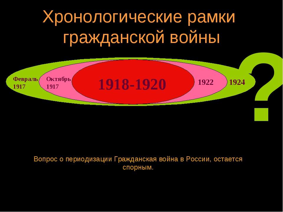 Хронологические рамки гражданской войны Вопрос о периодизации Гражданская вой...