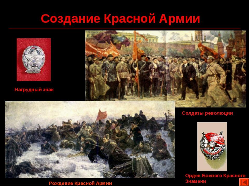 Создание Красной Армии Нагрудный знак Орден Боевого Красного Знамени Солдаты...