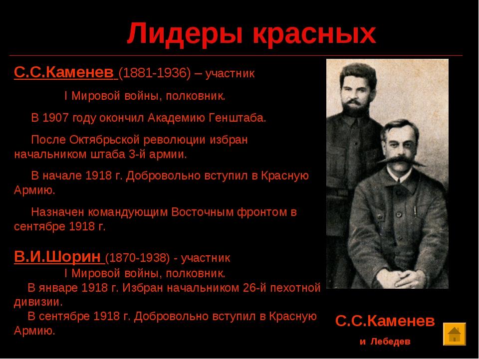 Лидеры красных С.С.Каменев и Лебедев С.С.Каменев (1881-1936) – участник I Мир...