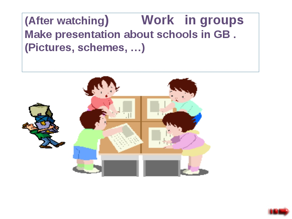 (After watching) Work in groups Make presentation about schools in GB . (Pict...