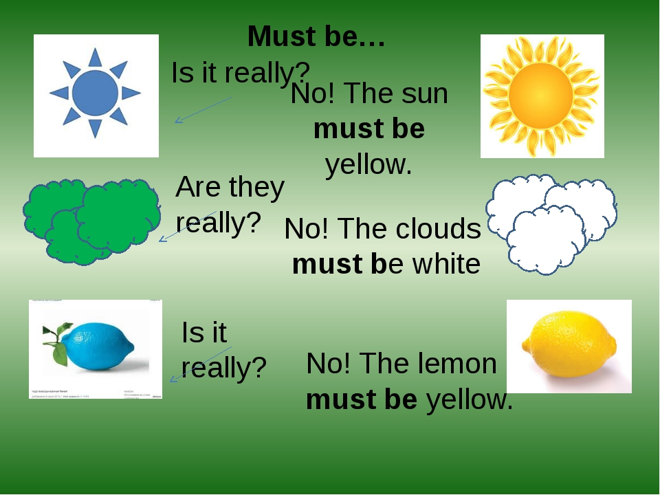 Must be… Is it really? No! The sun must be yellow. Are they really? No! The c...