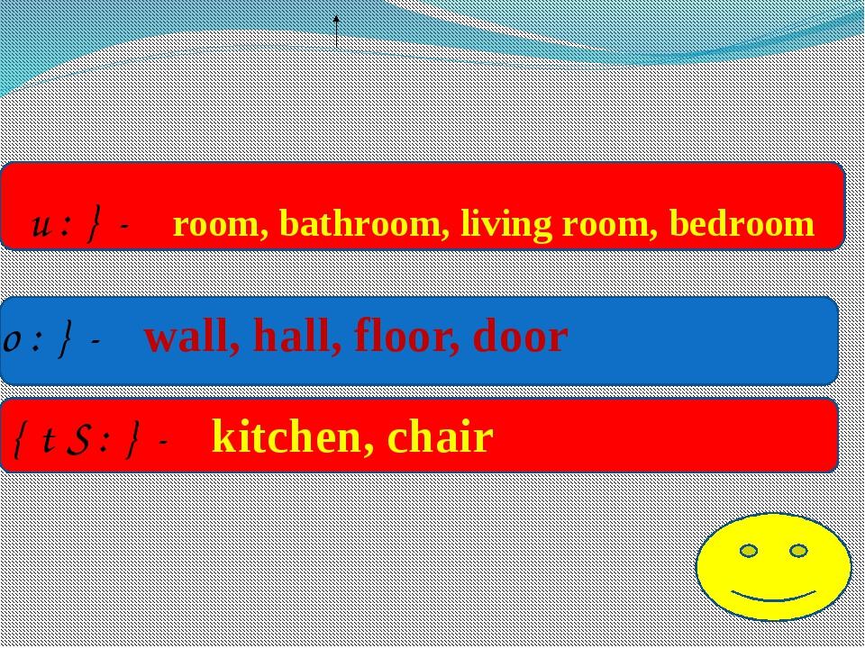 { u:}- room, bathroom, living room, bedroom {o:}- wall, hall, floor, door {t...