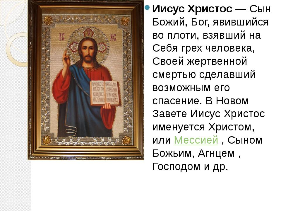 Иисус Христос— Сын Божий, Бог, явившийся во плоти, взявший на Себя грех чело...