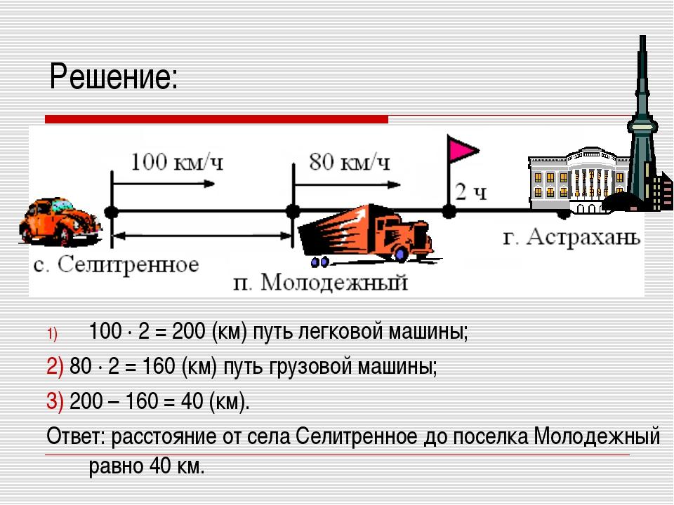 Решение: 100 · 2 = 200 (км) путь легковой машины; 2) 80 · 2 = 160 (км) путь г...