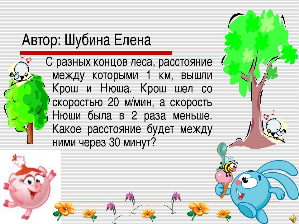 Автор: Шубина Елена С разных концов леса, расстояние между которыми 1 км, выш...