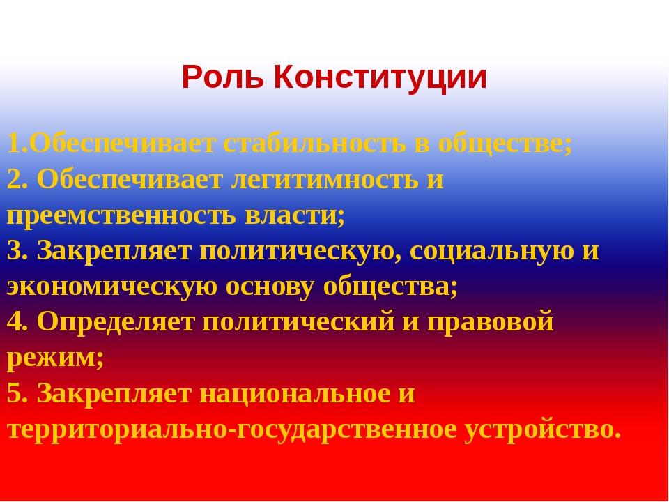 Роль Конституции 1.Обеспечивает стабильность в обществе; 2. Обеспечивает леги...