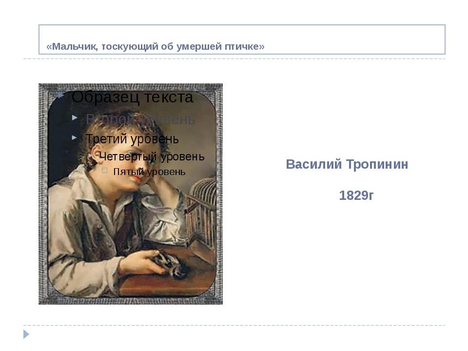«Мальчик, тоскующий об умершей птичке» Василий Тропинин 1829г