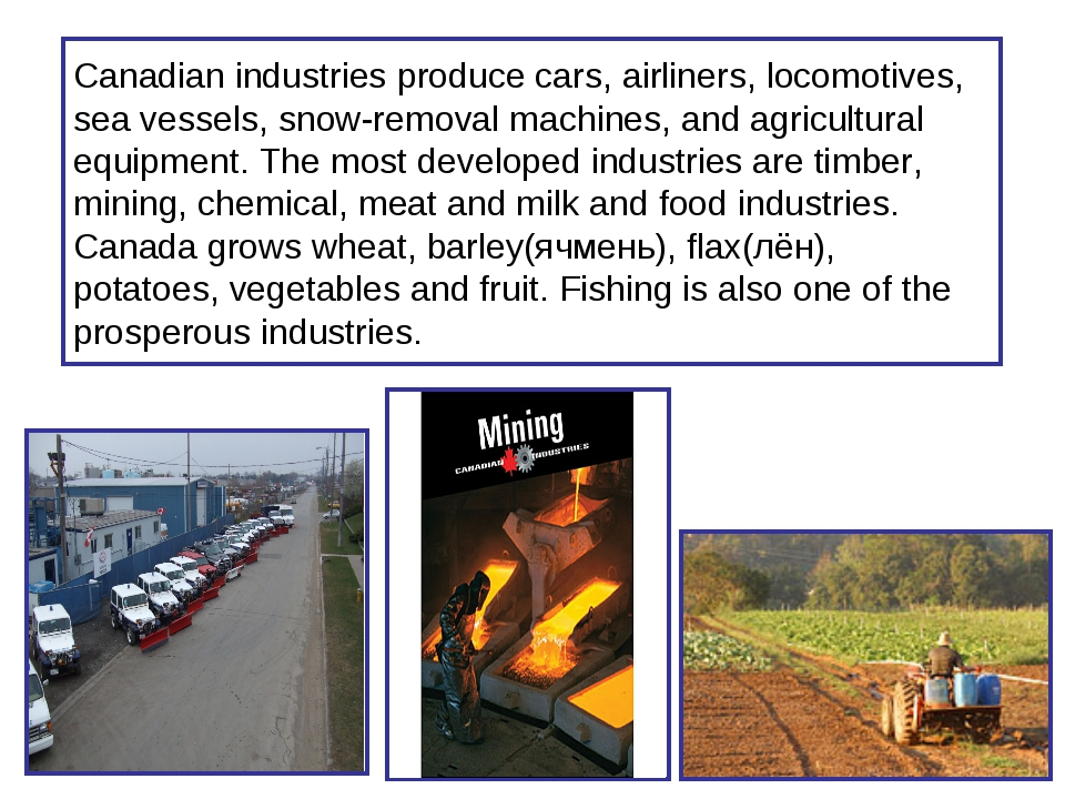 Canadian industries produce cars, airliners, locomotives, sea vessels, snow-r...