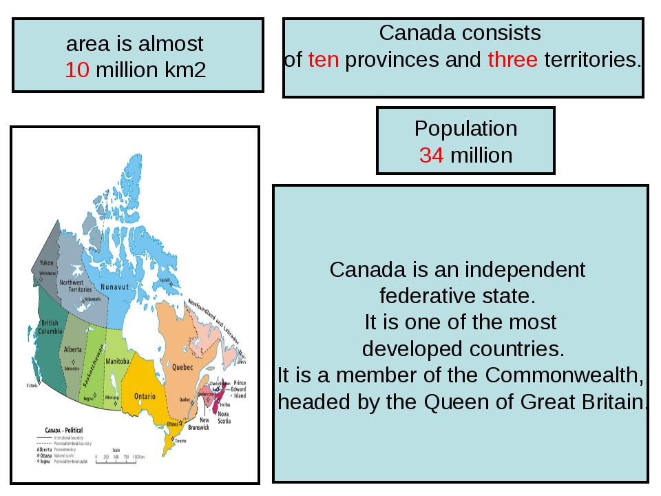 area is almost 10 million km2 Canada is an independent federative state. It i...