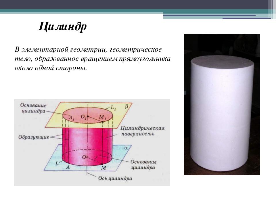 В элементарной геометрии, геометрическое тело, образованное вращением прямоуг...