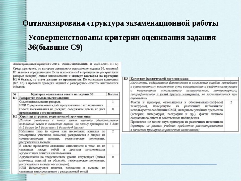 Оптимизирована структура экзаменационной работы Усовершенствованы критерии оц...