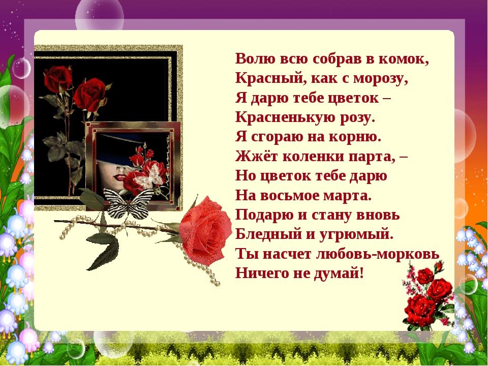 Волю всю собрав в комок, Красный, как с морозу, Я дарю тебе цветок – Краснень...