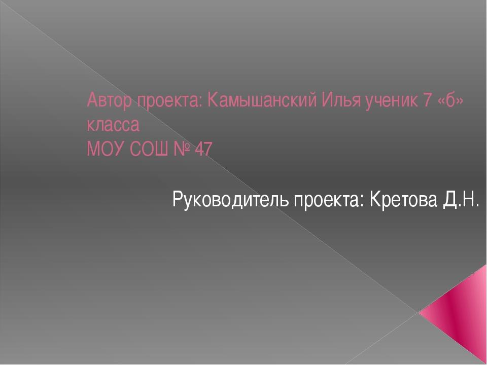 Автор проекта: Камышанский Илья ученик 7 «б» класса МОУ СОШ № 47 Руководитель...
