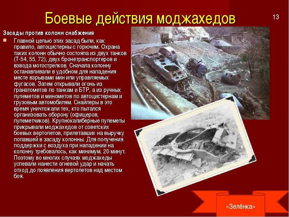 Боевые действия моджахедов Засады против колонн снабжения Главной целью этих...