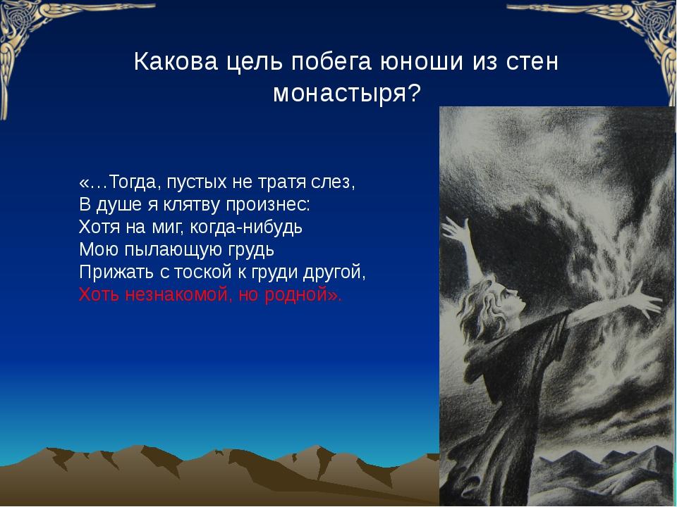 Какова цель побега юноши из стен монастыря? «…Тогда, пустых не тратя слез, В...