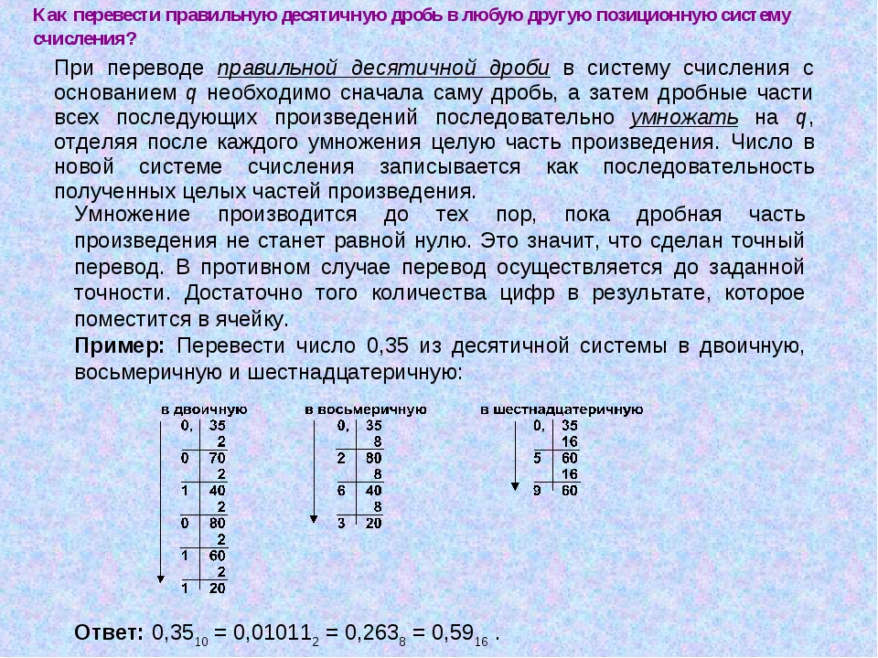Как пеpевести пpавильную десятичную дpобь в любую другую позиционную систему...