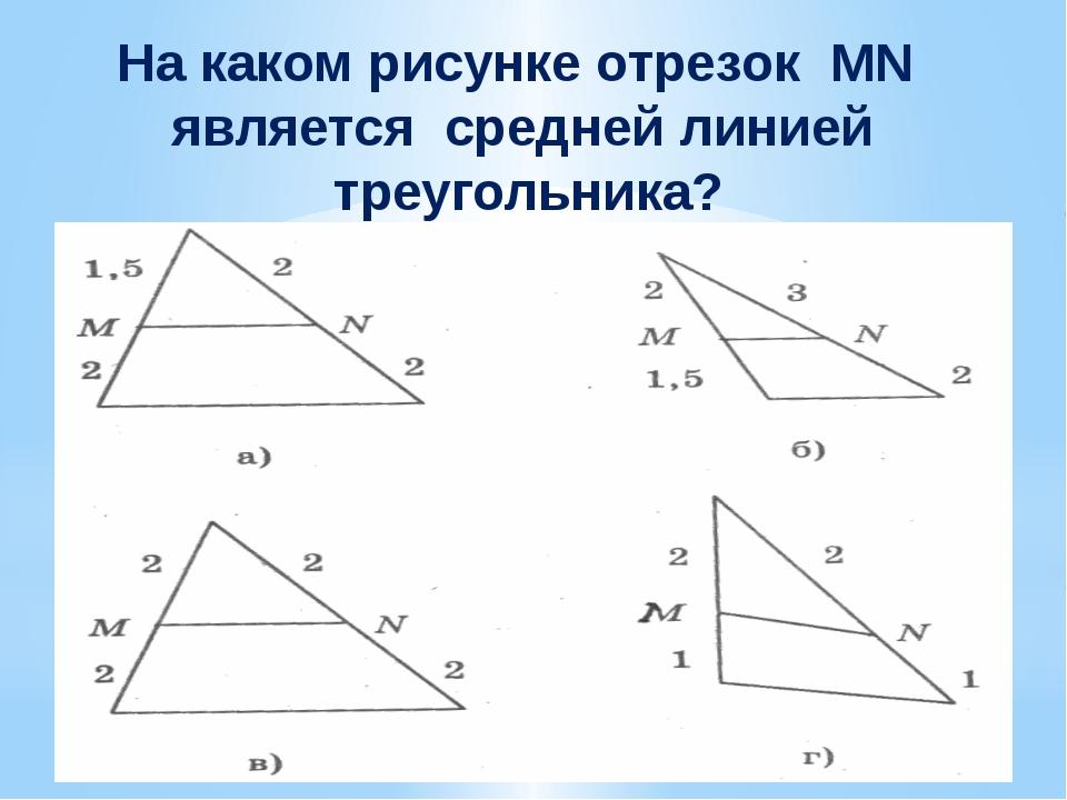 На каком рисунке отрезок MN является средней линией треугольника?