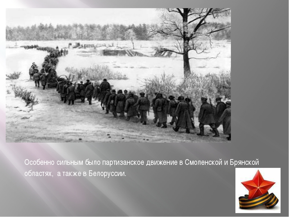 Особенно сильным было партизанское движение в Смоленской и Брянской областях,...