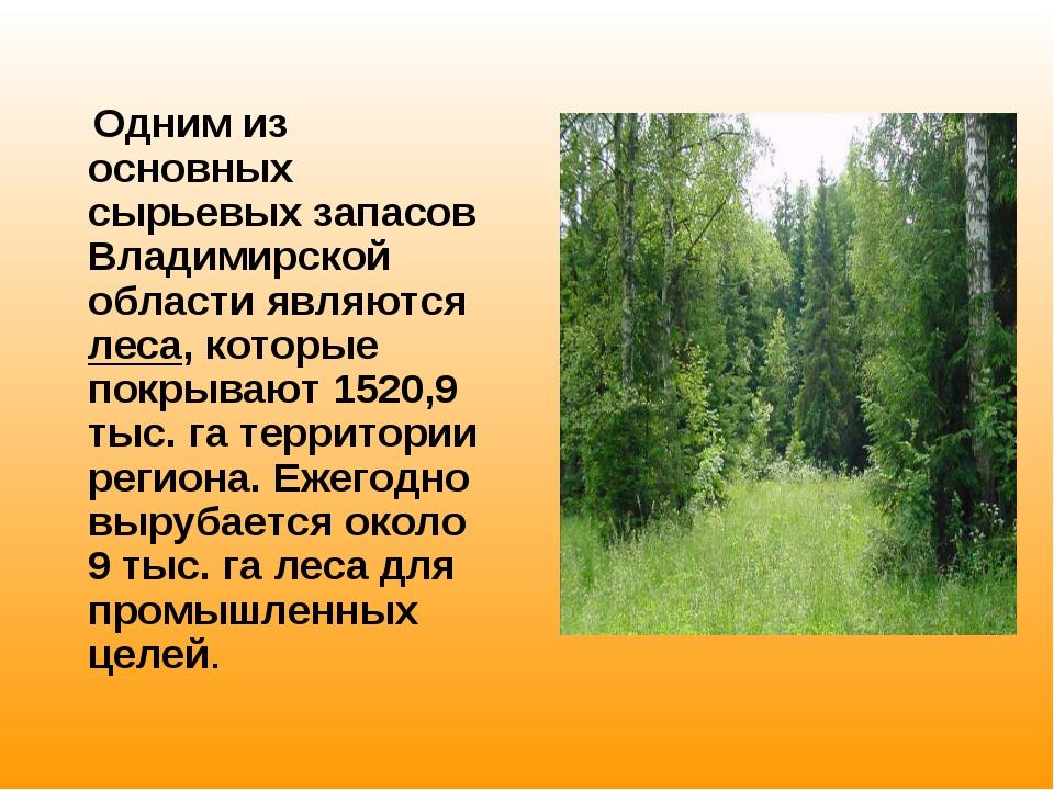 Одним из основных сырьевых запасов Владимирской области являются леса, котор...