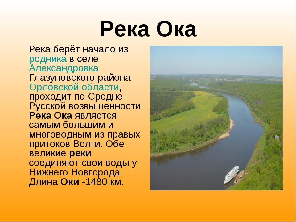 Река Ока Река берёт начало из родника в селе Александровка Глазуновского райо...