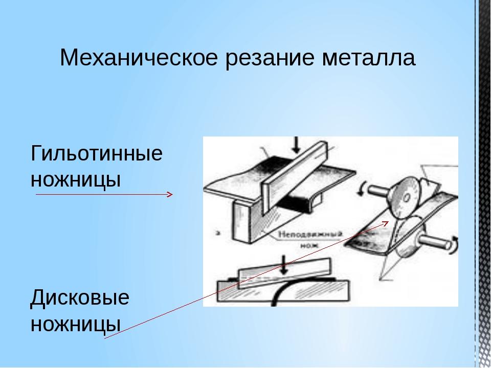 Механическое резание металла Гильотинные ножницы Дисковые ножницы