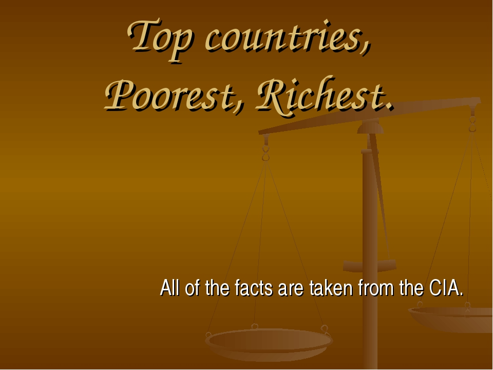 Top countries, Poorest, Richest. All of the facts are taken from the CIA.