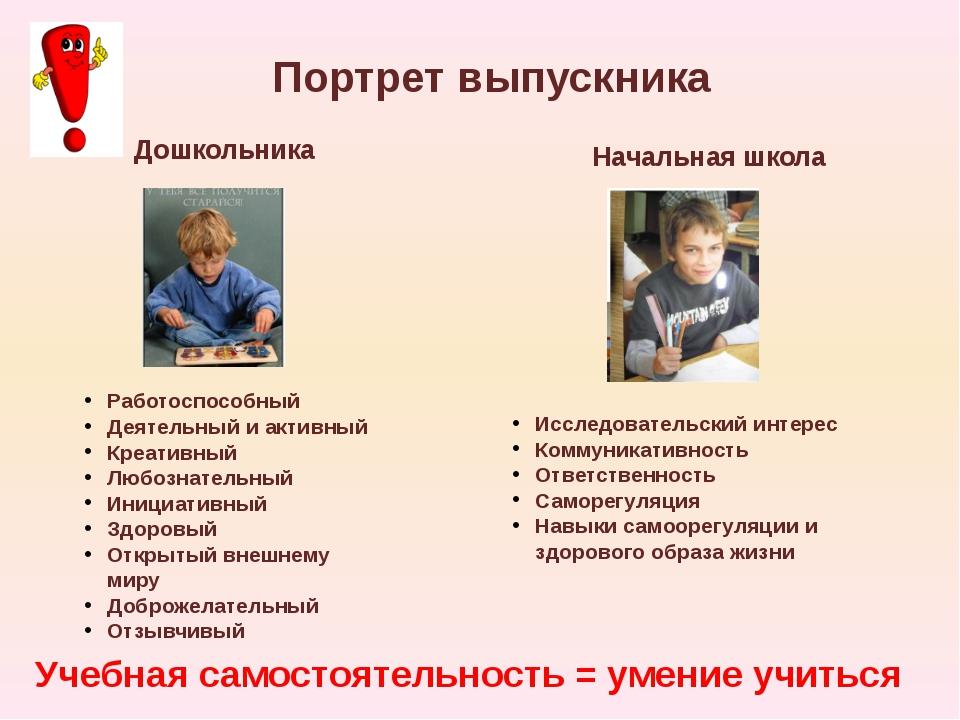 Портрет выпускника Дошкольника Начальная школа Учебная самостоятельность = ум...