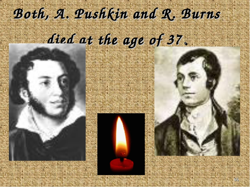 * Both, A. Pushkin and R. Burns died at the age of 37.
