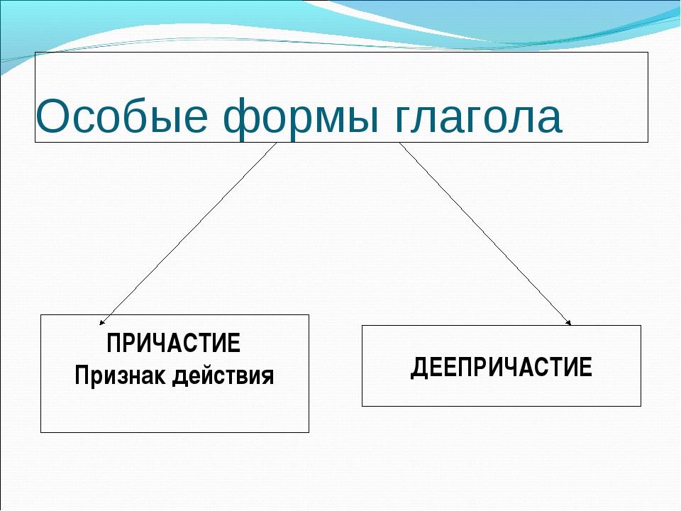 Особые формы глагола ПРИЧАСТИЕ Признак действия ДЕЕПРИЧАСТИЕ