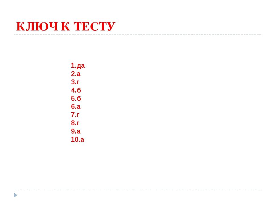 КЛЮЧ К ТЕСТУ 1.да 2.а 3.г 4.б 5.б 6.а 7.г 8.г 9.а 10.а