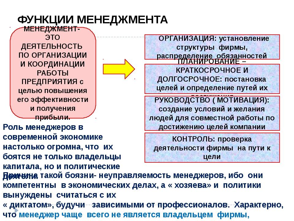 ФУНКЦИИ МЕНЕДЖМЕНТА МЕНЕДЖМЕНТ- ЭТО ДЕЯТЕЛЬНОСТЬ ПО ОРГАНИЗАЦИИ И КООРДИНАЦИИ...