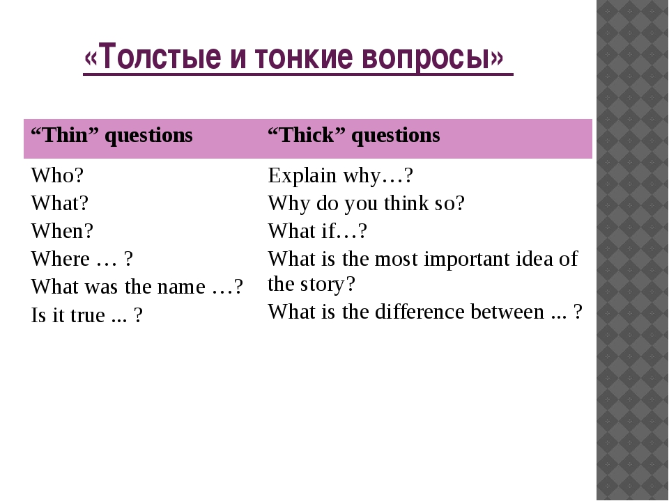 """«Толстые и тонкие вопросы» """"Thin"""" questions """"Thick"""" questions Who? What? When..."""