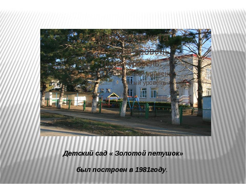 Детский сад « Золотой петушок» был построен в 1981году.