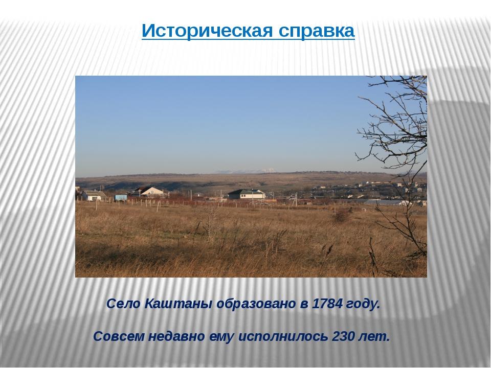 Село Каштаны образовано в 1784 году. Совсем недавно ему исполнилось 230 лет....