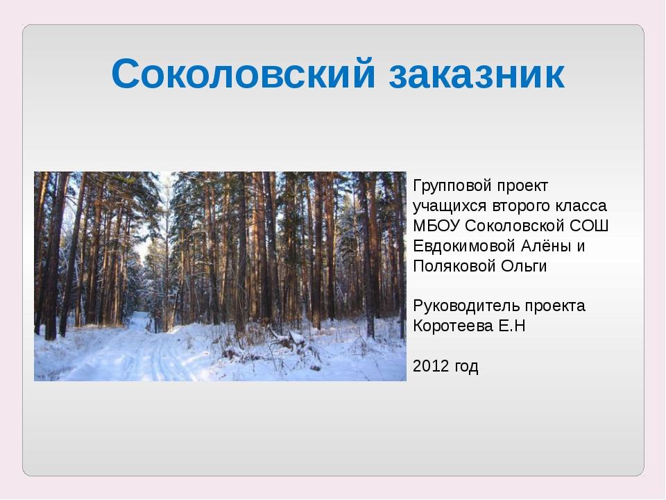 Соколовский заказник Групповой проект учащихся второго класса МБОУ Соколовско...